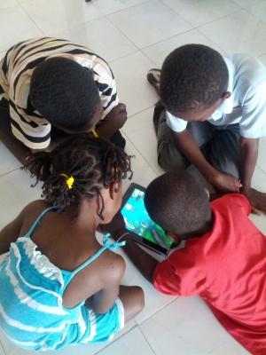 Haiti Kids with Tablets-Hoin-Choi